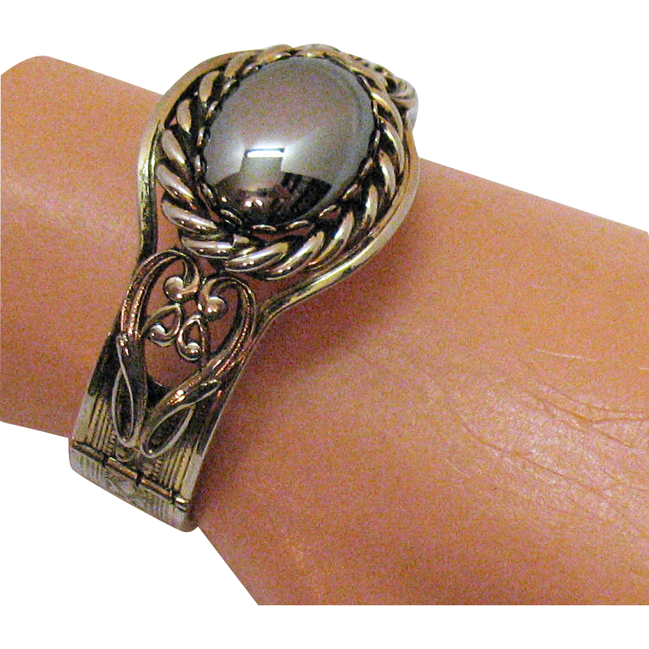 50% Off Elaborate Vintage Hematite Hinged Bracelet