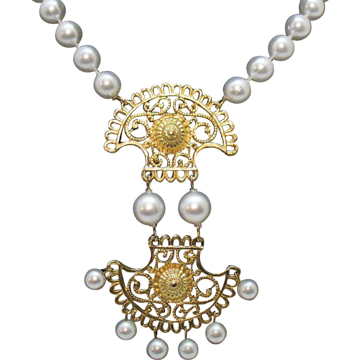 Awesome Vintage Egyptian Style Faux Pearl Medallion Necklace