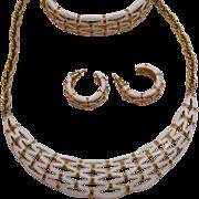 Signed Crown Trifari Vintage Lattice Work Parure Necklace Bracelet Pierced Earrings