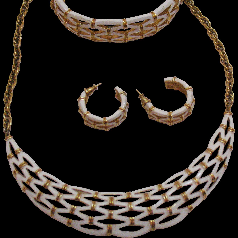 Rare Signed Crown Trifari Vintage Lattice Work Parure Necklace Bracelet Pierced Earrings