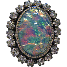 50% Off Vintage Opal Rhinestone Sterling Silver Earrings