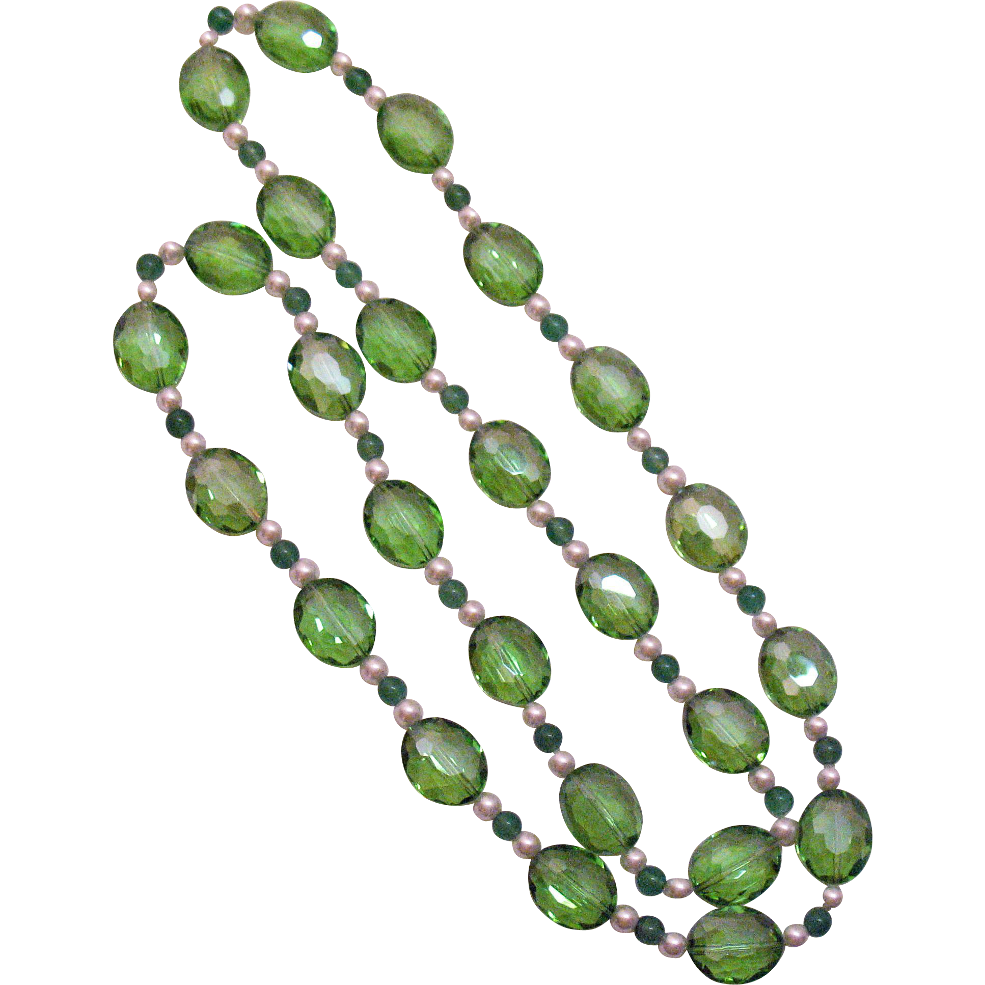 Amazing Peridot Colored Glass Beads Faux Pearl Necklace