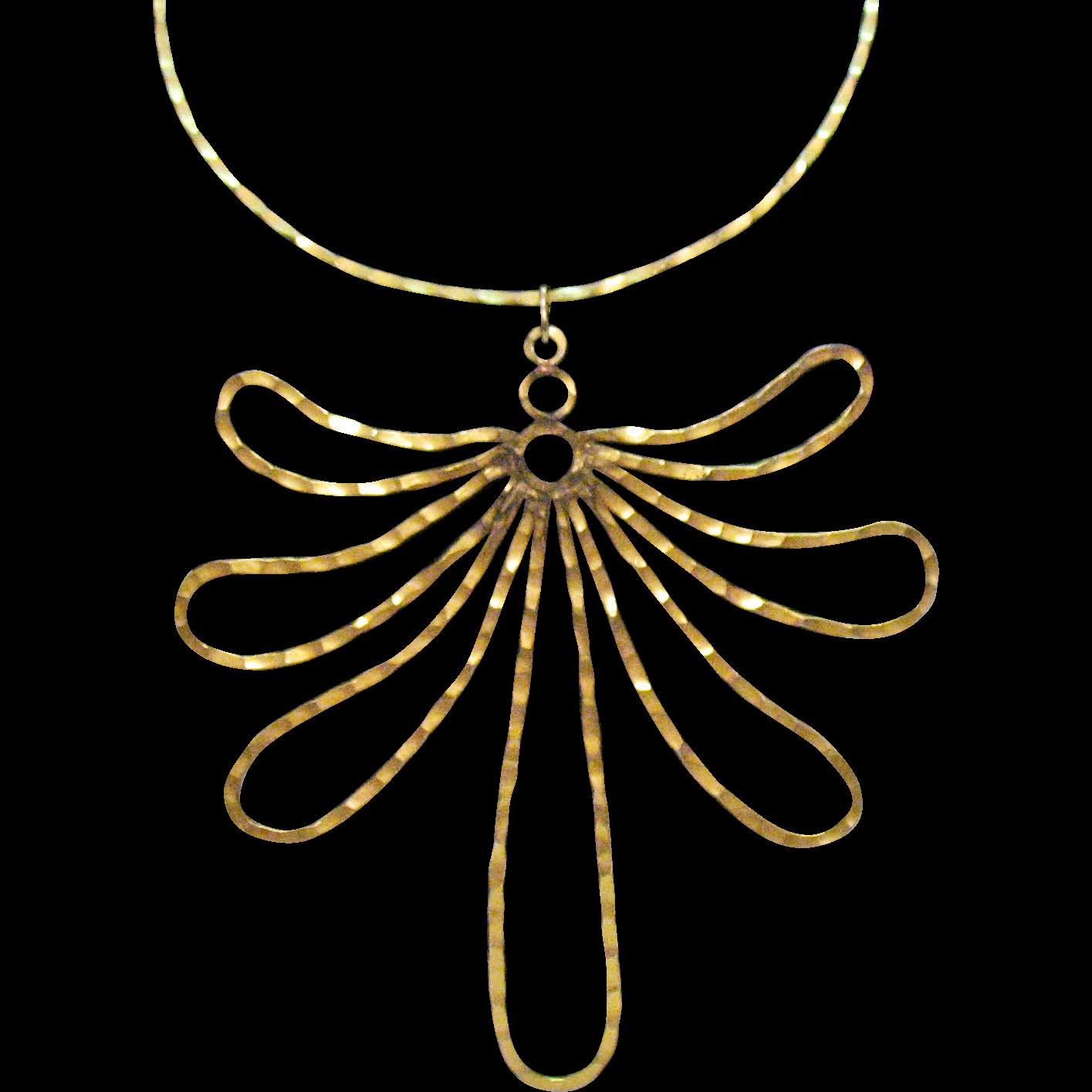 Big Bold Vintage Hammered Brass Floral Choker Necklace
