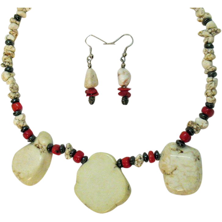 Vintage Howlite Coral Hematite Necklace Pierced Earrings Set