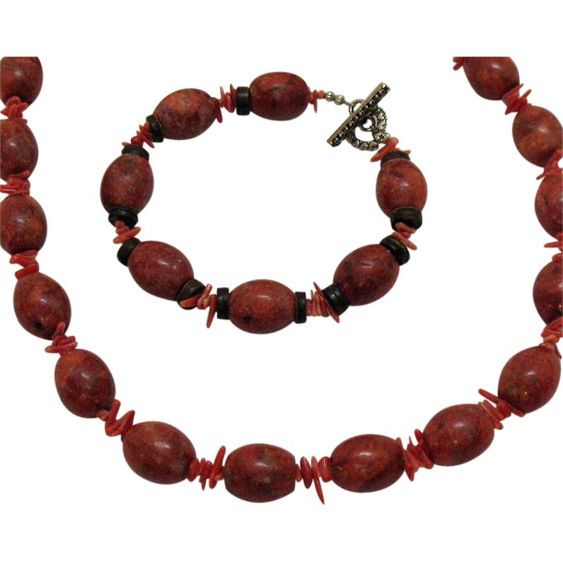 Vintage Red Jasper Branch Coral Necklace Bracelet Set