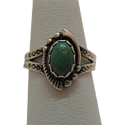 50% Off Vintage Sterling Silver American Indian Story Telling Turquoise Ring