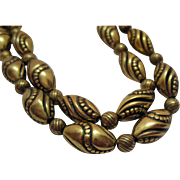 Signed Napier Vintage Metal Beaded Necklace~Nice!