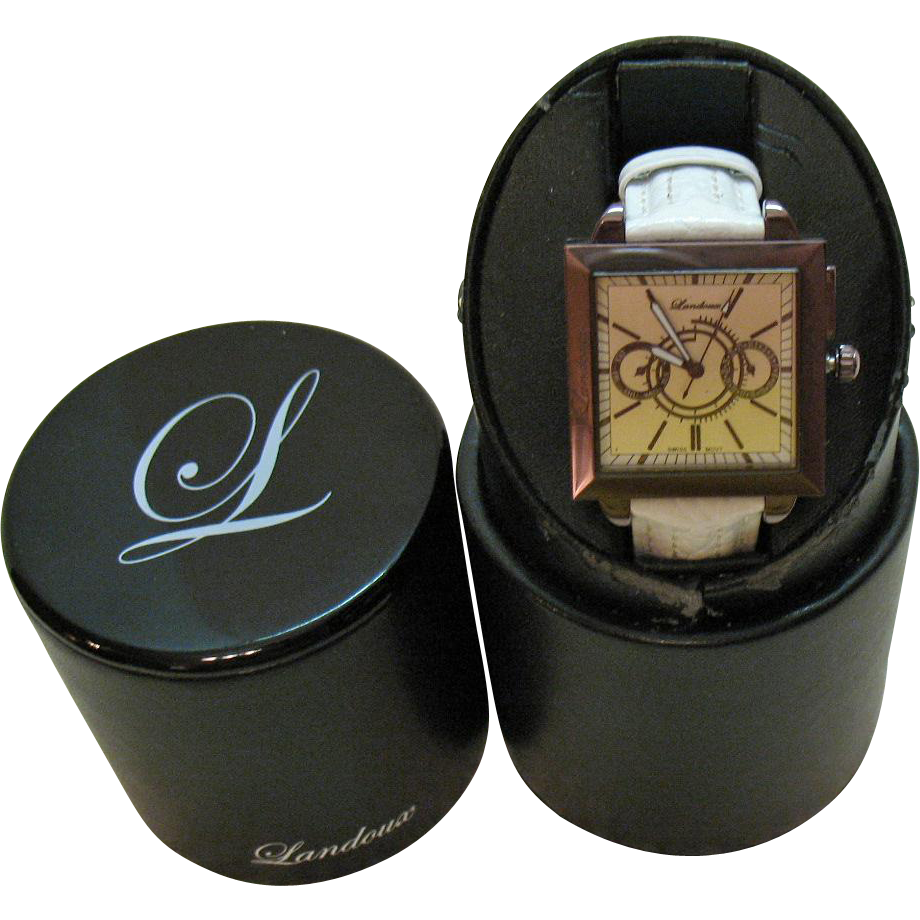 50% Off Vintage Luxury Landoux Fine Jewelry Chronograph Wrist Watch with Original Box!