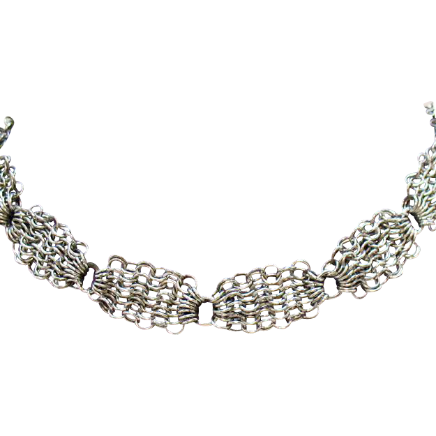 50% Off Unique Vintage Signed Whiting and Davis Silver Chain Choker Necklace