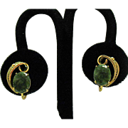 Beautiful Vintage Signed Sorrento 12KGF Jade Earrings Screw Back