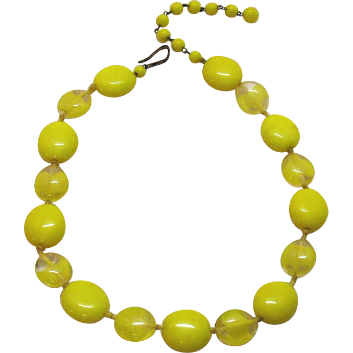 50% Off Beautiful Signed M W Germany Vintage Yellow Art Glass Necklace