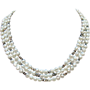 Beautiful Vintage Baroque Pearl Sterling Silver Triple Strand Necklace