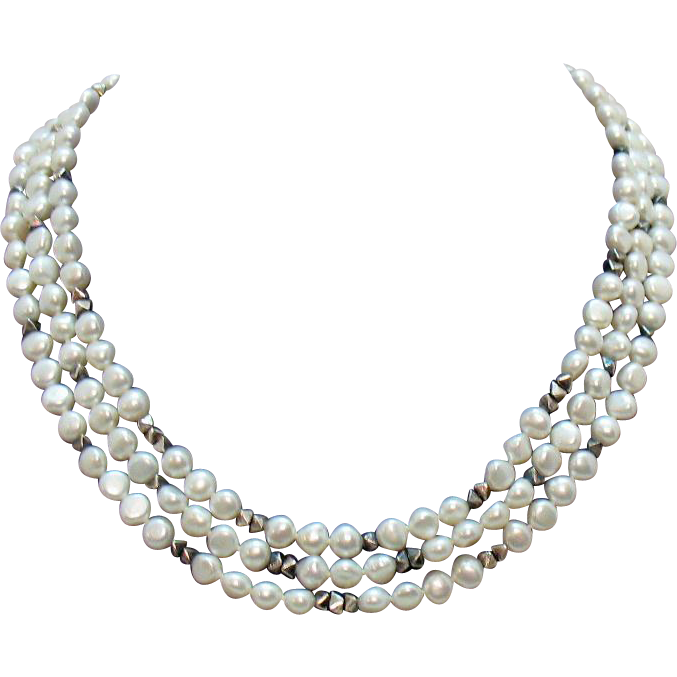 Beautiful Vintage Baroque Cultured Pearl Sterling Silver Triple Strand Necklace