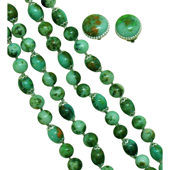 50% Off Awesome Vintage Plastic Beaded Faux Jade Necklace Earrings Set Signed Hong Kong