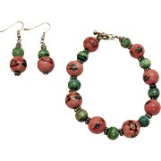 Vintage Jasper Hand Painted Beaded Bracelet Pierced Earrings Set