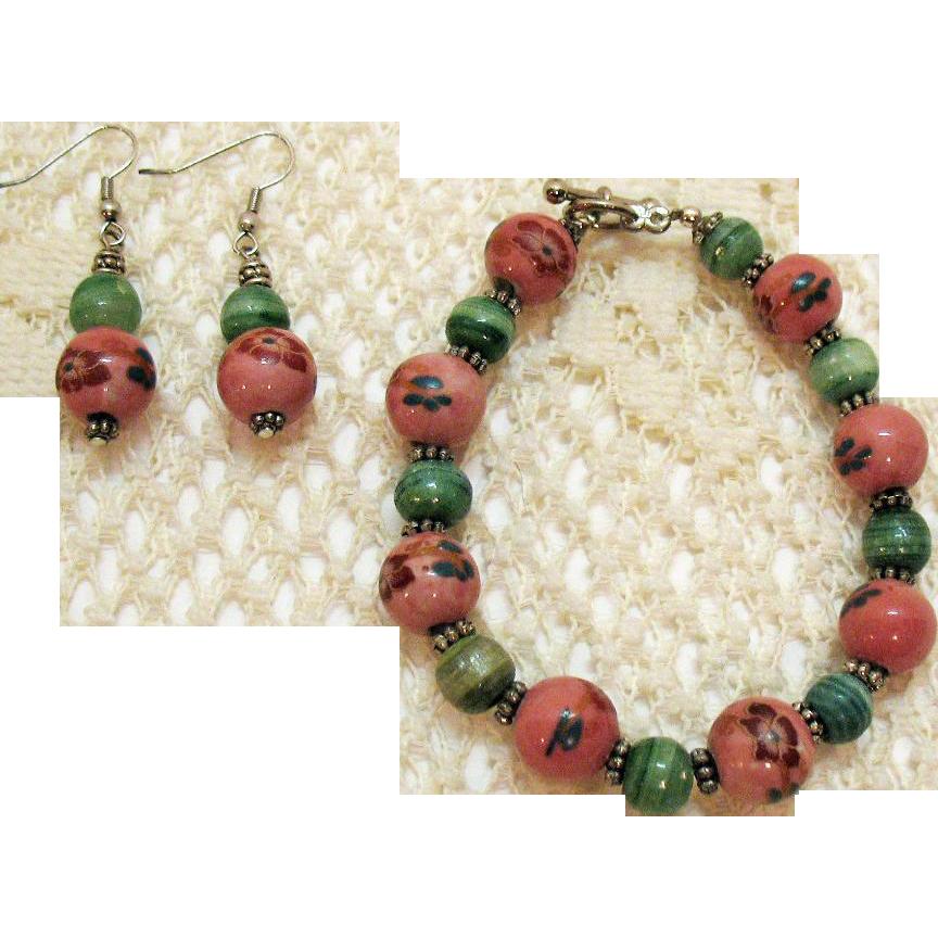 50% Off Vintage Jasper Hand Painted Beaded Bracelet Pierced Earrings Set