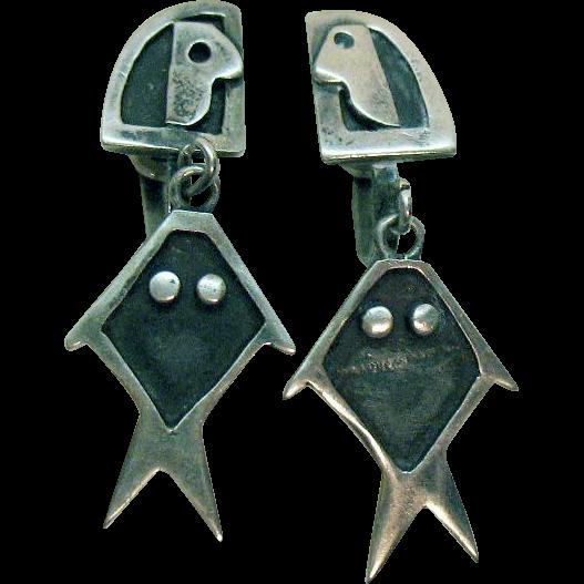 50% Off Signed AOR Jen Mexico Sterling Silver Unusual Vintage Screw Back Earrings