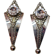 Big Bold Vintage 1980s Rivoli Rhinestone Clip Earrings~3 Inches Long!