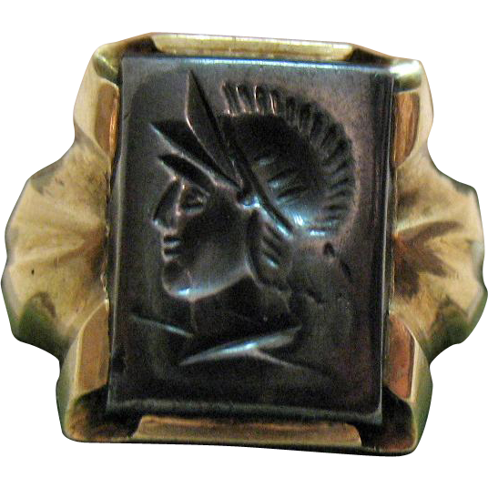 Antique 10K Gold Hematite Intaglio Ring Greek Roman Soldier
