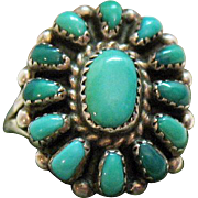 Vintage Native American Indian Navajo Sterling Silver Turquoise Ring
