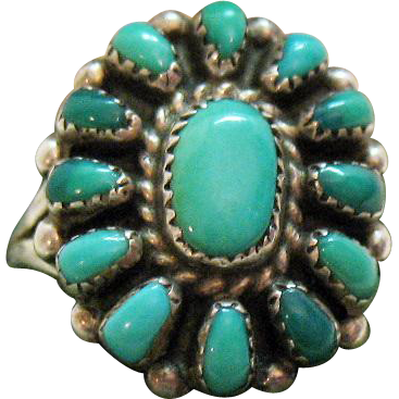 Vintage Navajo Native American Indian Navajo Sterling Silver Turquoise Ring