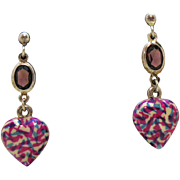 50% OFF Unusual Vintage Marino Glass Hearts Amethyst Italian Sterling Pierced Earrings