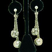 Gorgeous Vintage Faux Pearl & Rhinestone Rondel Clip Earrings