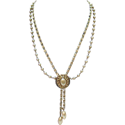 Drippy Vintage Slide Double Chain Necklace~Faux Pearls