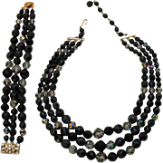 Unusual Signed Laguna Vintage Black Polka-a-Dot Crystal Necklace Bracelet Set