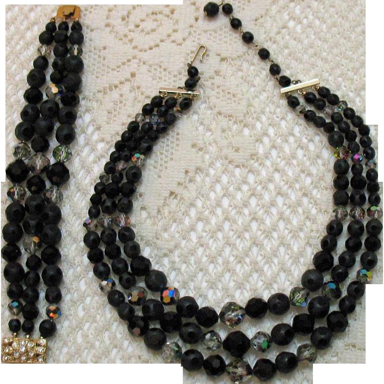 Unusual Signed Laguna Vintage Black Polka-a-Dot Crystal Necklace Bracelet Set