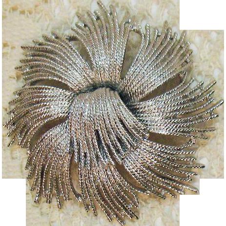 Bold Vintage Signed Monet Fireworks Silver Brooch