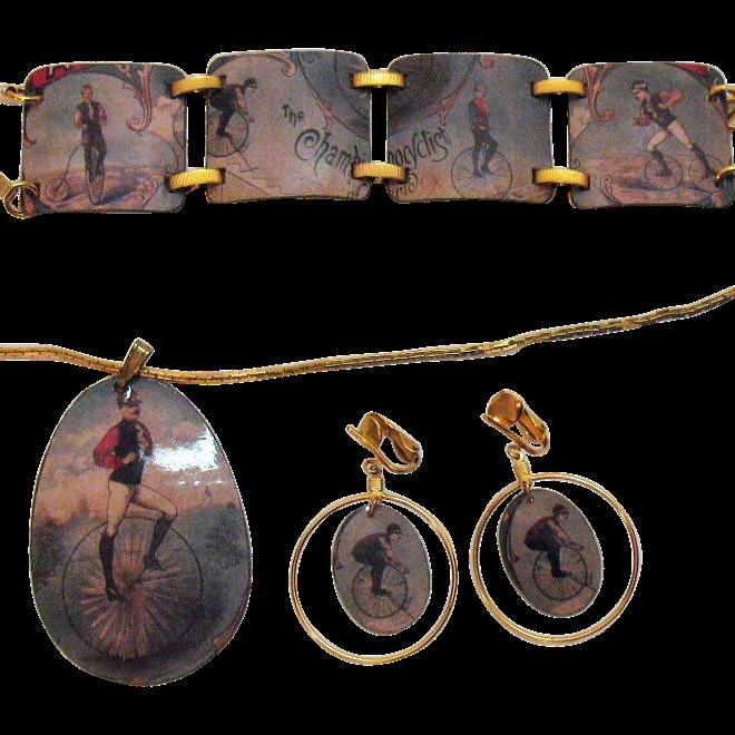 Vintage Parure Copper Velocipede Enameled Necklace Bracelet Earrings Set