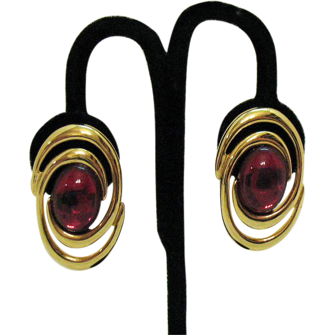 Bold Vintage Signed Napier Gripoix Glass Pierced Earrings