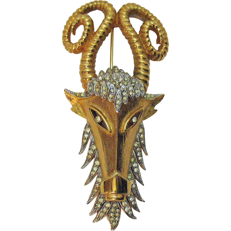Rare Signed Vendome Vintage Pava Rhinestone Ram Head Brooch