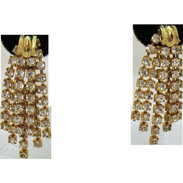 Gorgeous Signed Hobe Dangle Rhinestone Vintage Clip Earrings