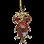 Darling Vintage Dangle Owl Rhinestone Clip Earrings