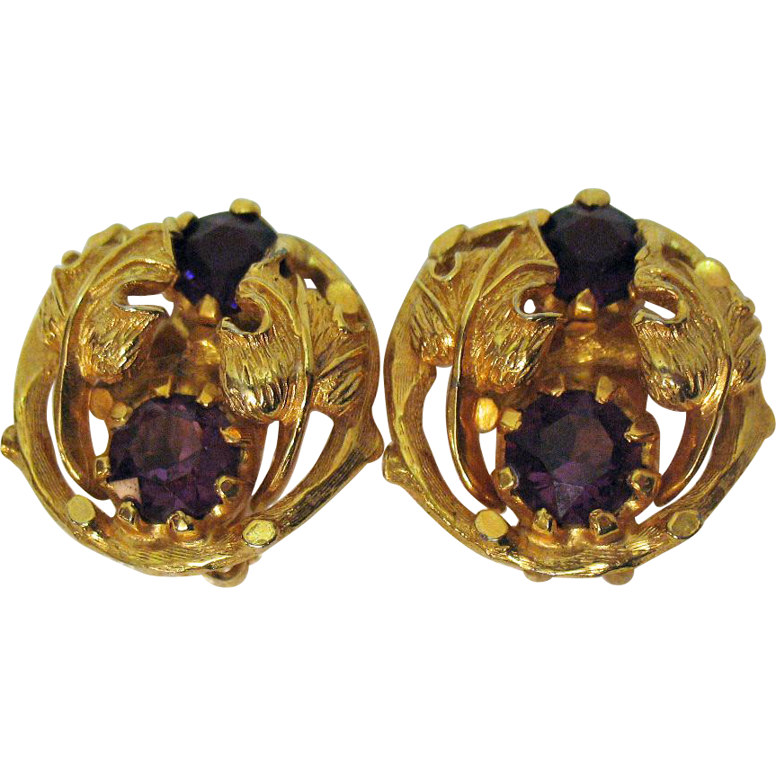 Signed Vintage Alice Caviness Amethyst Clip Earrings