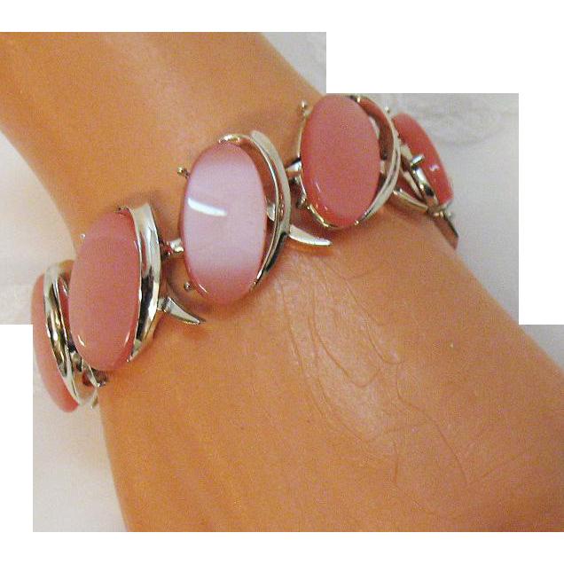 Vintage Pink Lucite Silver Link Bracelet