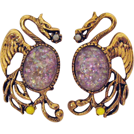Rare Vintage Dragon Confetti Lucite Jelly Belly Clip Earrings