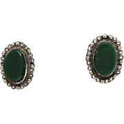 Gorgeous Vintage Sterling Silver Green Onyx Mexican Earrings