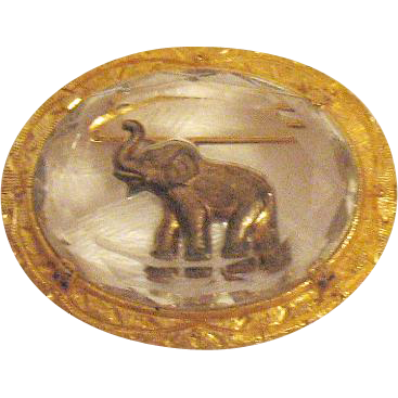 Awesome Vintage Signed Joseph Warner Elephant Glass Intaglio Brooch