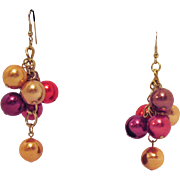 Fun Vintage Jewel Tone Beaded Shoulder Duster Pierced Earrings