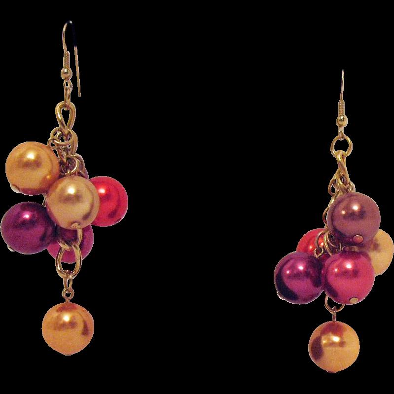 50% OFF Fun Vintage Jewel Tone Beaded Shoulder Duster Pierced Earrings