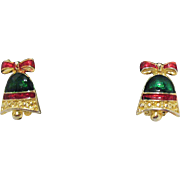 Christmas Vintage Enameled Bell Clip Earrings