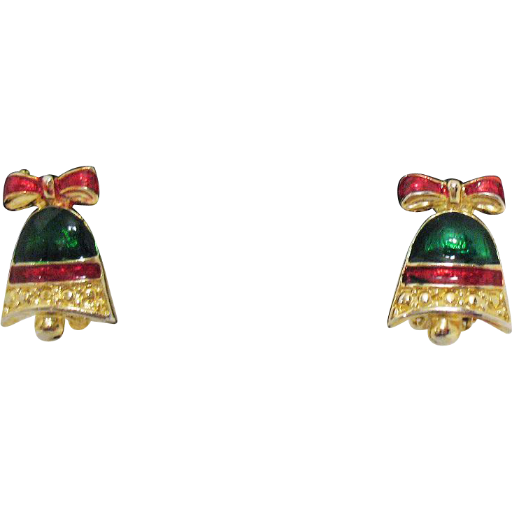 50% OFF Christmas Vintage Enameled Bell Clip Earrings