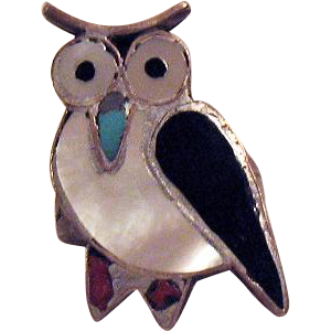 Vintage Sterling Silver Owl Inlay Ring