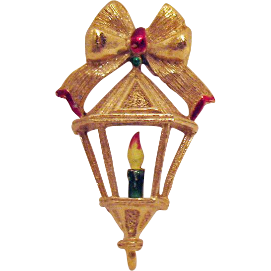 Signed Gerrys Vintage Christmas Lamp Post Brooch