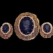 Vintage Plastic Black Grey Cameo Brooch Earrings Set~Hong Kong