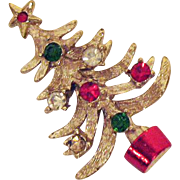 Vintage Signed Mylu Christmas Tree Rhinestone Brooch