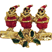 Vintage Singing Santa Claus Christmas Brooch